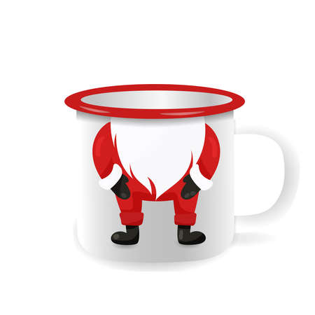 Vector iron mug, mock up for design cup. Cartoon Santa Claus with beard.