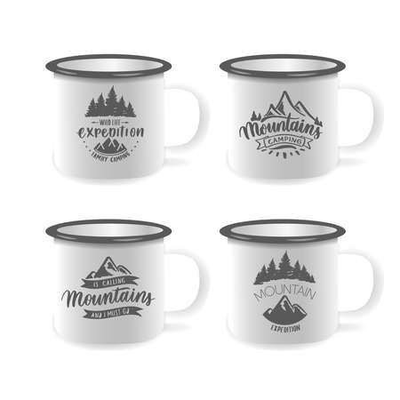 Vector iron mug, mock up for design cup. Mountain expedition and adventure - hand lettering inscription. Ilustracja