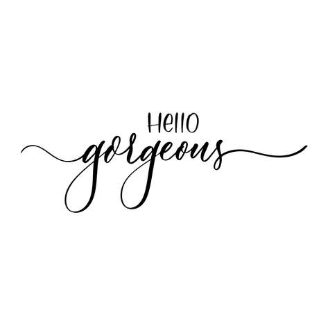 Hello gorgeous - hand lettering inscription in lines. Ilustrace