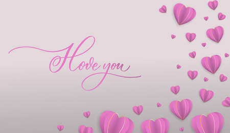 I love you hand drawn calligraphy inscription.Valentine's Day background with pink paper hearts. Packaging design for sweets, gift certificates, paper, clothes.