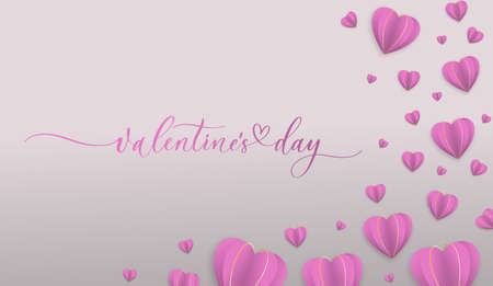 Valentine's Day background with pink paper hearts. Packaging design for sweets, gift certificates, paper, clothes.