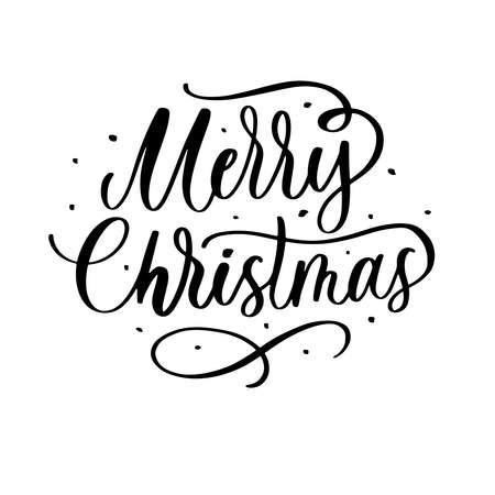 Merry Christmas - handmade lettering calligraphy inscription.