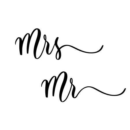 Mrs Mr- hand drawn calligraphy inscription.