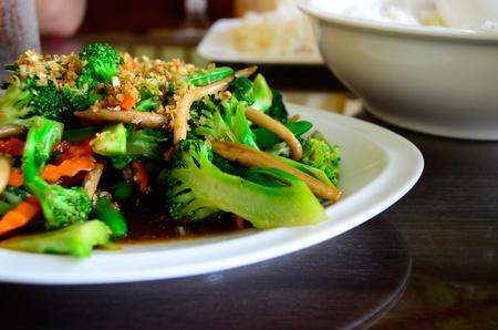 stir fried: fried broccoli and rice Stock Photo