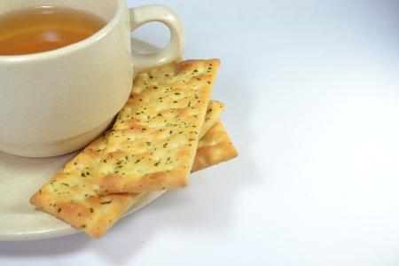 Tea and Crackers Stock Photo