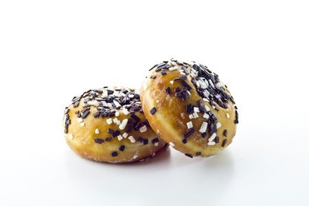 glazed donuts on white background photo
