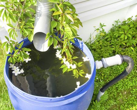 afvoer voor regenwater in een plastic vat in een landhuis