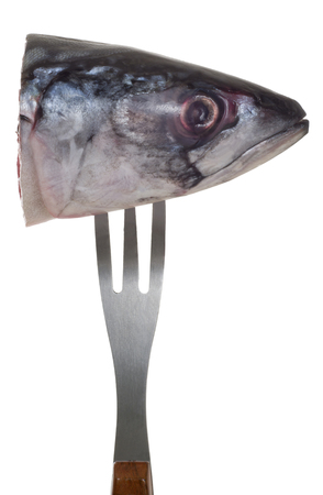 fish head: fish head of mackerel on a metal fork isolated on white background