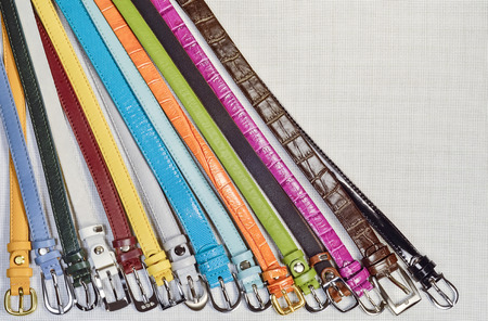 convolute: new fashion colorful leather straps photographed are on the table