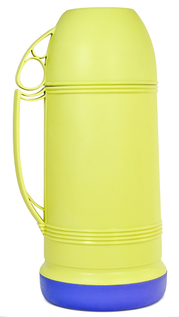 insulated drink container: Green plastic  mug and lid on a white background