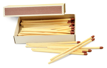 kindling: matches for kindling of the hearth in a paper box, isolated on white background