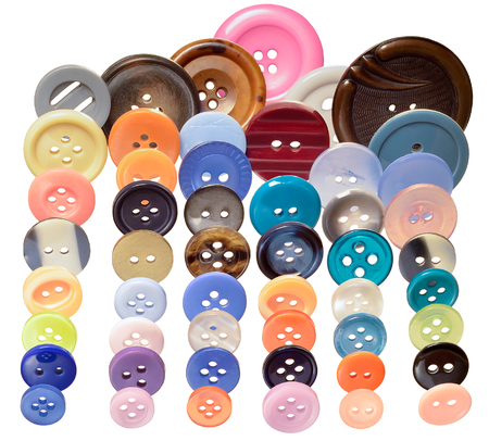 large group of items: colorful sewing buttons of different sizes, isolated on white background