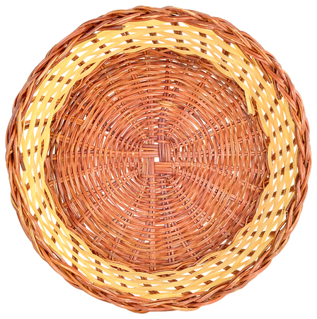 round rods: wicker basket made of wicker in brown color, isolated on white background