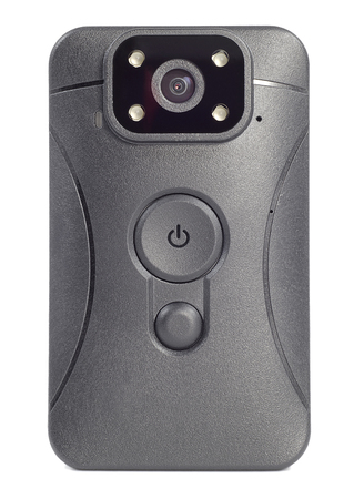 front view black plastic body camera or video recorder mounted on a Desk, isolated on white background