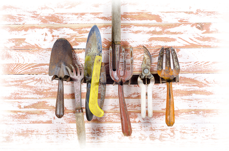 Set of vintage rusty old garden tools rake, shears, shovel, saw, pruning shears, a hole and a cord is adapted to hang on the rake teeth on a wooden Board brown close-up in the room.