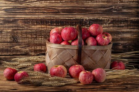 Basket with red apples with wheat ears on a wooden table and a wooden background in a rural or rustic room. Stock Photo