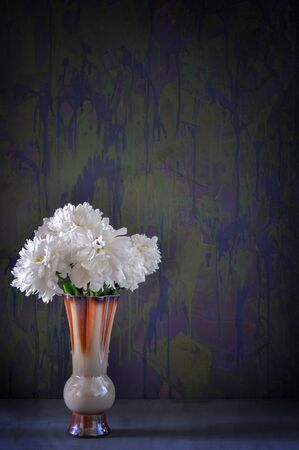 A bouquet of white peonies in a ceramic brown vase on a gray table and dark blue background. Stock Photo