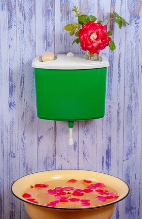 A plastic green washstand on a purple fence with a glass of rose flower and a bar of soap on it. Under the washstand is a basin with rose petals. Stock Photo - 137456870