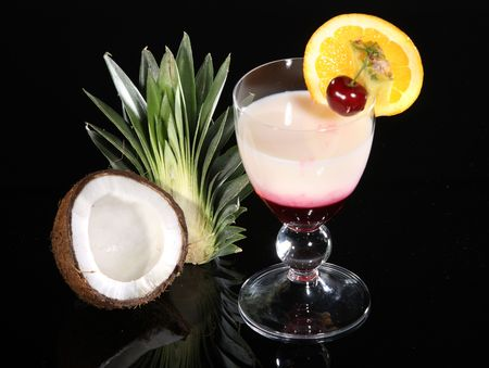 Refreshment cocktail with a slice of lemon  photo