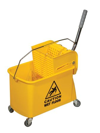 Yellow Mop Bucket isolated on white background