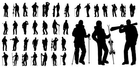 vorm van sport silhouet winter snowboarden en skiën  Vector Illustratie