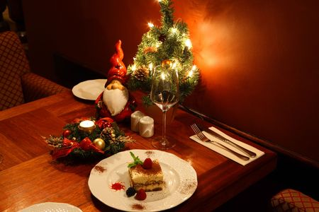 Christmas time, fruitcake with assorted fruits close view  photo