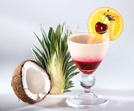 Fresh Tropical Cocktail isolated on gray background