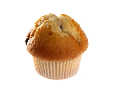 Fresh blueberry muffin isolated on white background with copy space  Stock Photo