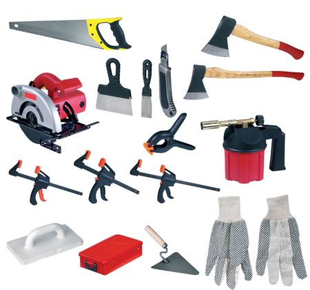 large page of tools on white background  photo