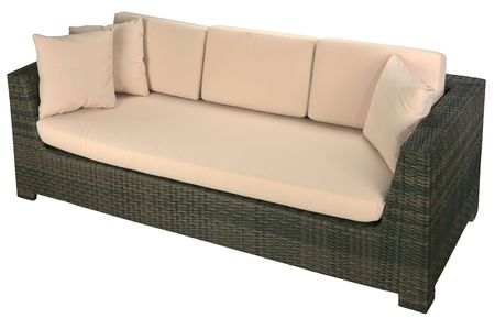 Urban rattan sofa isolated on a white background photo
