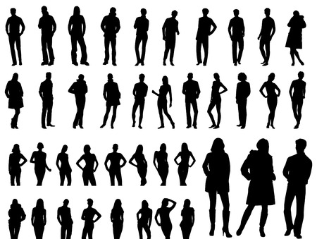 Un conjunto de siluetas de personas. Ilustración vectorial.  Foto de archivo - 6111313