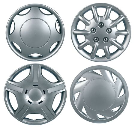 New plastic hubcap isolated on white background
