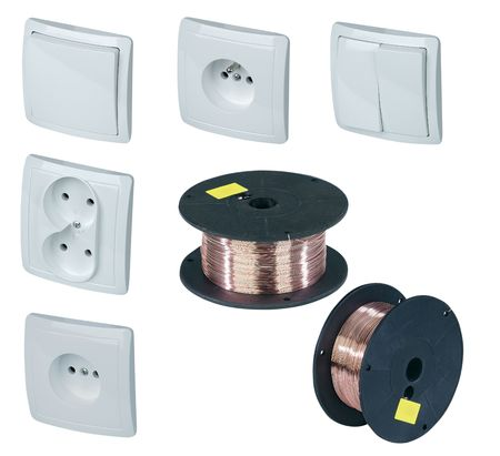 White Power Outlet w Path, light switch  and copper bobbin on white   photo