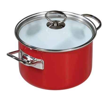 ware house: Modern red saucepan on a white background