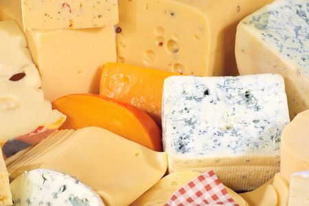 Various types of delicious cheese close up photo