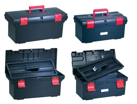 New plastic toolbox opened on white background