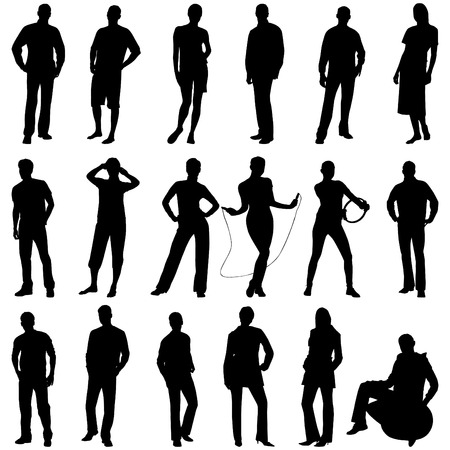 Young people silhouettes. This image is a vector illustration