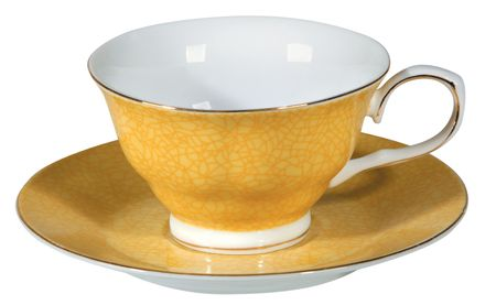 antiquary: Taza de t� y plato sobre fondo blanco