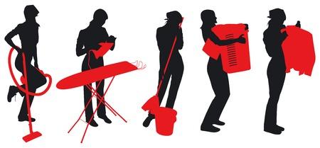 Meisjes en huis vrouwen silhouetten. Deze afbeelding is een vector illustratie en kan worden geschaald naar elk formaat zonder verlies van de resolutie.  Vector Illustratie
