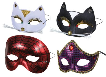 spiderman: Collection of masks ready for party on white Stock Photo