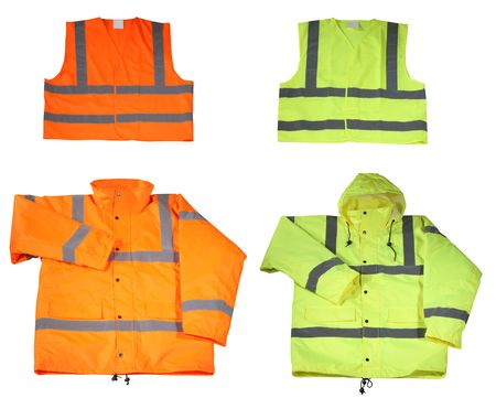protective wear: Emergency safety vest and jacket isolated on white
