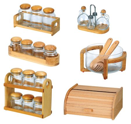 pepperbox: jars with wooden spoon and natural look of wooden bread box isolated