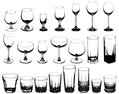 alcoholismo: Conjunto de vasos para bebidas alcoh�licas - ilustraci�n vectorial Vectores