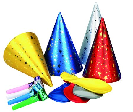 Party hat and whistle on WHITE background  Stock Photo