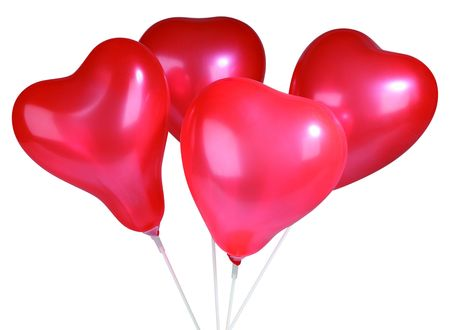 Set of colorful balloons in form of hearts on white photo