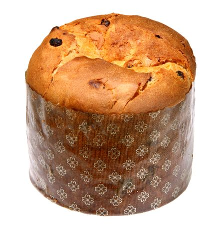 Italian panettone in front of a white background  Stock Photo