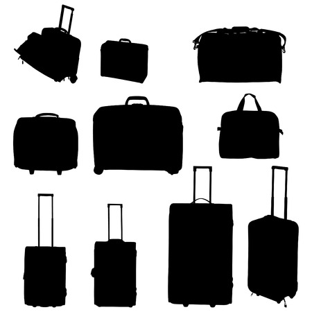 Travel bags and suitcases collection Vector