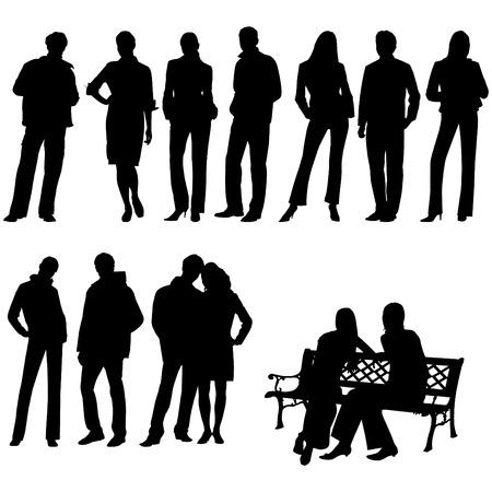 silueta humana: Conjuntos de personas. Esta imagen es una ilustración y puede ampliarse a cualquier tamaño sin pérdida de resolución
