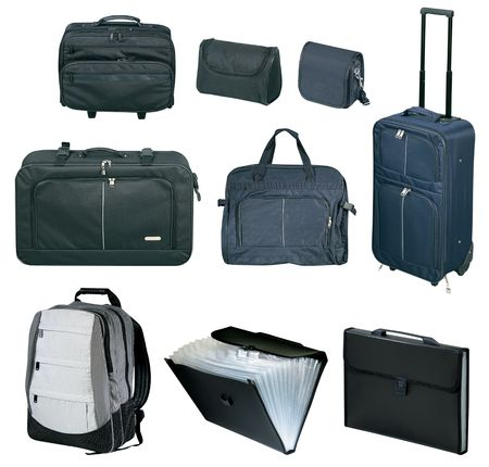 Travel bags and suitcases collection on white background photo