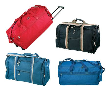 Travel bags collection, isolated on white background
